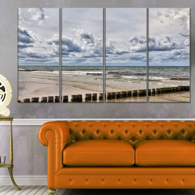 Stormy Weather in Hiddensee Sea Seascape Canvas Art Print - 4 Panels