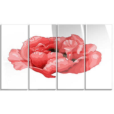 Designart Beautiful Plant Paeonia Arborea FloralCanvas Art Print - 4 Panels