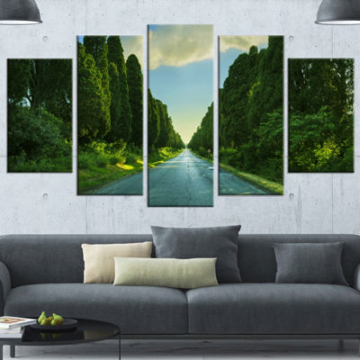 Designart Straight Cypress Trees Boulevard ModernLandscapeWrapped Art - 5 Panels