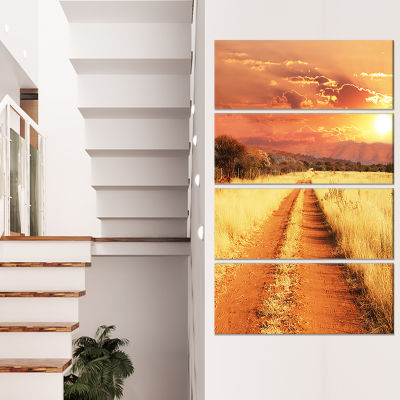 Designart Straight Path in African Landscape Oversized Landscape Canvas Art - 4 Panels