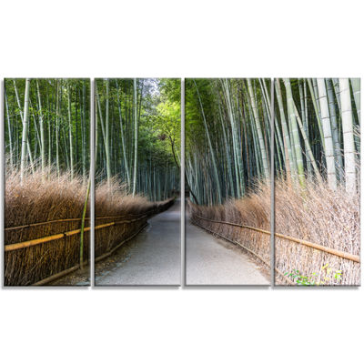Designart Straight Path in Bamboo Forest Forest Canvas WallArt Print - 4 Panels