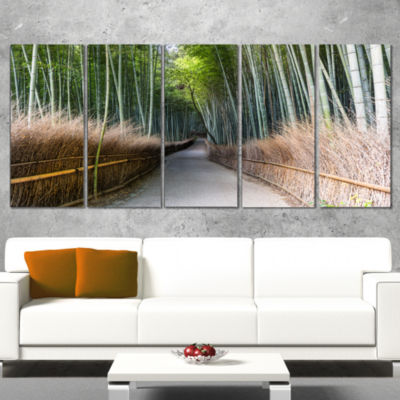 Designart Straight Path in Bamboo Forest Forest Wrapped WallArt Print - 5 Panels