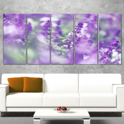 Designart Beautiful Purple Mint Flowers Large Flower CanvasWall Art - 4 Panels