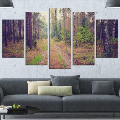 Designart Straight Pathway in Thick Forest ModernForest Canvas Art - 4 Panels