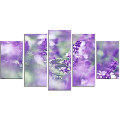 Designart Beautiful Purple Mint Flowers Large Flower Wrapped Canvas Wall Art - 5 Panels