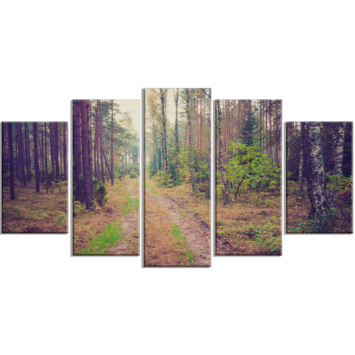 Straight Pathway in Thick Forest Modern Forest Wrapped Art - 5 Panels