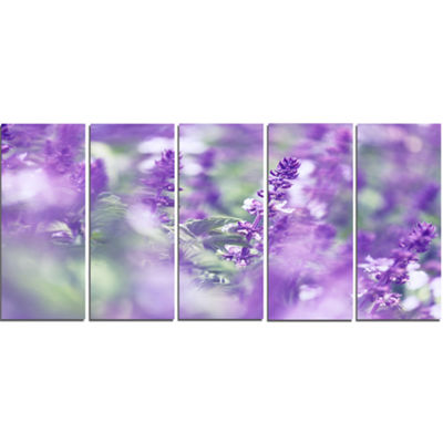 Designart Beautiful Purple Mint Flowers Large Flower CanvasWall Art - 5 Panels