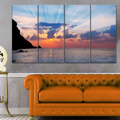 Designart Beautiful Raising Sun and Mountains Large Landscape Canvas Art - 4 Panels