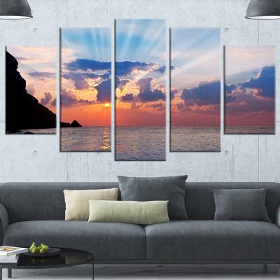 Designart Beautiful Raising Sun and Mountains Large Landscape Wrapped Canvas Art - 5 Panels