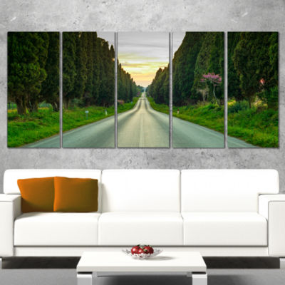 Designart Straight Road Through Cypress Trees Oversized Landscape Wall Art Print - 4 Panels