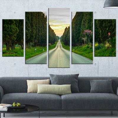 Designart Straight Road Through Cypress Trees Oversized Landscape Wrapped Wall Art Print - 5 Panels
