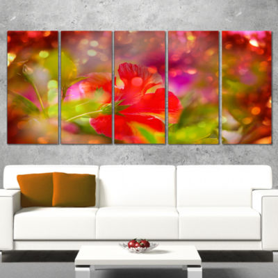 Designart Beautiful Red Rural Summer Flowers Floral Wrapped Canvas Art Print - 5 Panels