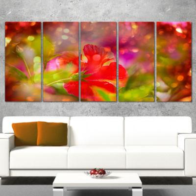 Designart Beautiful Red Rural Summer Flowers Floral Canvas Art Print - 5 Panels
