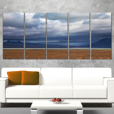 Designart Stretch of Land Under Blue Sky LandscapeArtwork Wrapped - 5 Panels