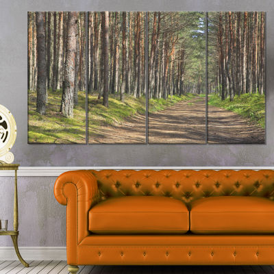 Designart Beautiful Road Through Thick Woods Modern Forest Canvas Art - 4 Panels