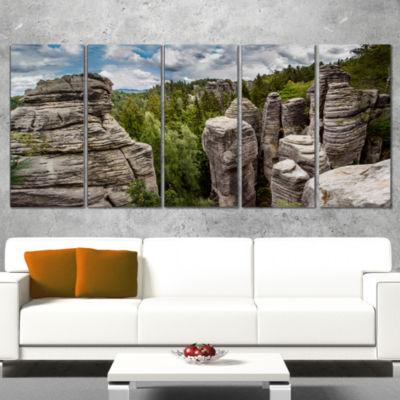Designart Beautiful Rocks in Bohemian Paradise Landscape Canvas Art Print - 4 Panels