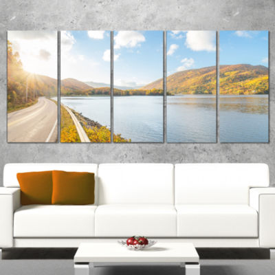 Stunning Autumn Mountains Canada Landscape CanvasArt Print - 5 Panels