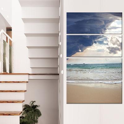 Designart Stunning Beach with Old Bridge SeascapeCanvas ArtPrint - 4 Panels
