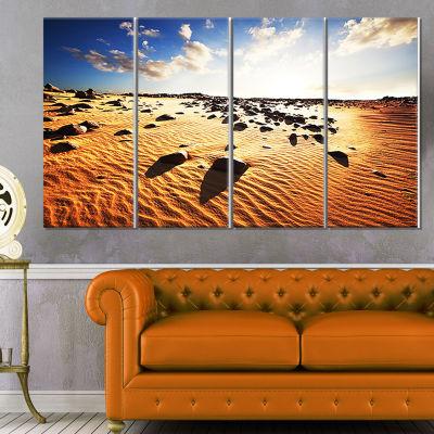 Designart Beautiful Rocky Sand Desert African Landscape Canvas Art Print - 4 Panels
