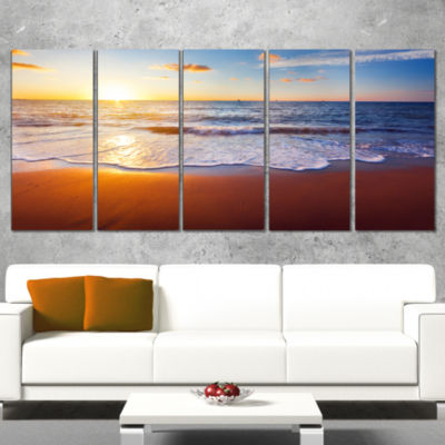 Designart Stunning Blue Waves and Brown Sand BeachPhoto Wrapped Print - 5 Panels