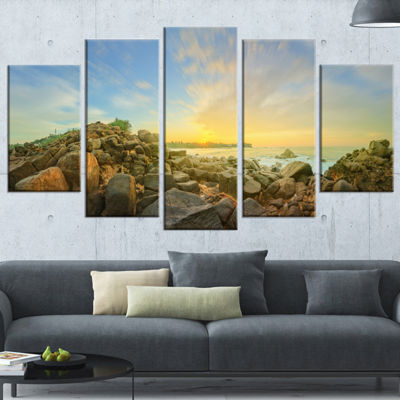 Designart Beautiful Romantic Beach Sunrise Landscape ArtworkWrapped Canvas - 5 Panels