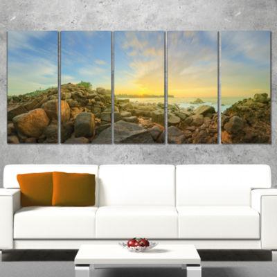 Designart Beautiful Romantic Beach Sunrise Landscape ArtworkCanvas - 5 Panels
