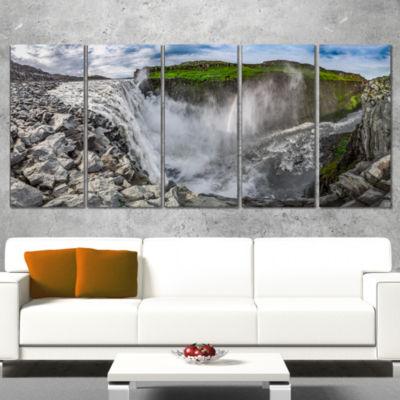 Designart Stunning Dettifoss Waterfall Iceland Landscape Print Wrapped Wall Artwork - 5 Panels