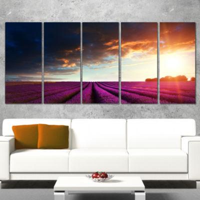 Designart Stunning Lavender Field Under Cloudy SkyFloral Canvas Art Print - 4 Panels