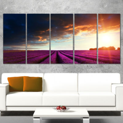 Stunning Lavender Field Under Cloudy Sky Floral Canvas Art Print - 5 Panels