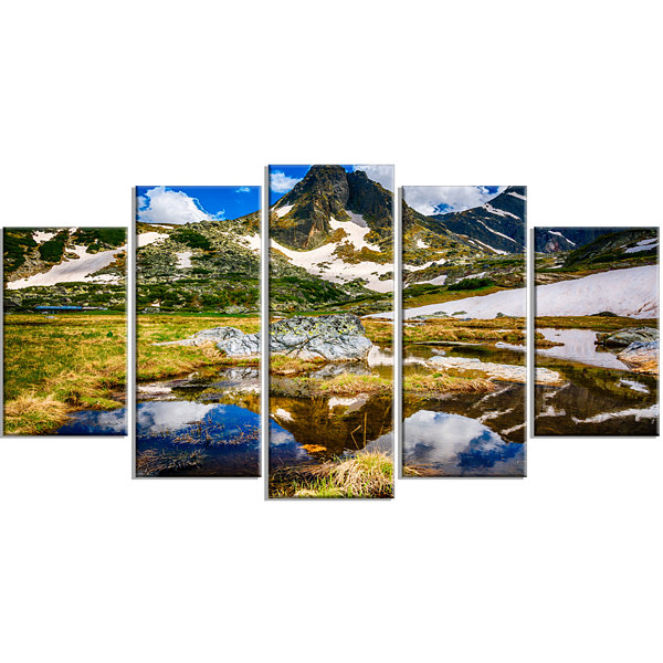 Designart Stunning Mountains in Rila Lakes District Landscape Wrapped Art Print - 5 Panels