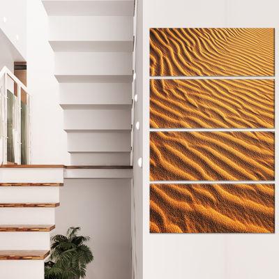 Designart Beautiful Sand Desert Dunes African Landscape Canvas Art Print - 4 Panels