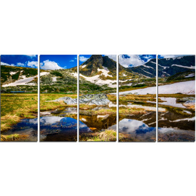 Designart Stunning Mountains in Rila Lakes District Landscape Canvas Art Print - 5 Panels