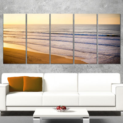 Designart Stunning Orange Sunset Over Beach ExtraLarge Seascape Art Wrapped - 5 Panels