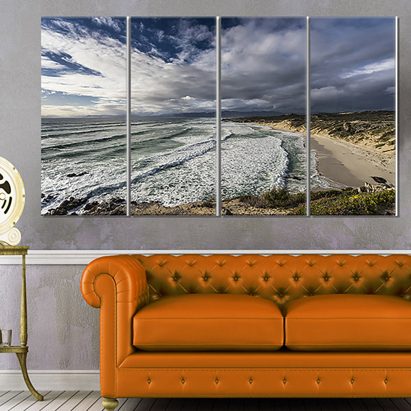 Designart Stunning South Africa Sea Coast Large Seashore Canvas Print - 4 Panels