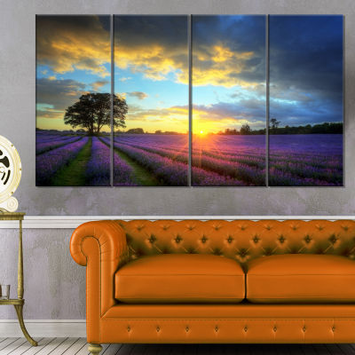 Designart Stunning Sunset Over Lavender Fields Large FlowerCanvas Wall Art - 4 Panels