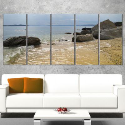 Designart Beautiful Sea View of Rocky Coast ExtraLarge Seashore Canvas Art - 4 Panels