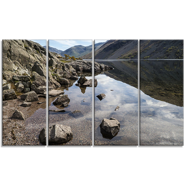Designart Stunning Wast Water Reflection LandscapeArtwork Canvas - 4 Panels