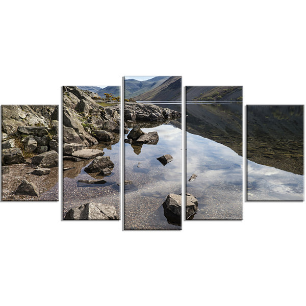 Designart Stunning Wast Water Reflection LandscapeArtwork Wrapped - 5 Panels