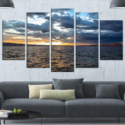 Designart Beautiful Seascape Under Cloudy Sky Modern Seashore Wrapped Canvas Art - 5 Panels