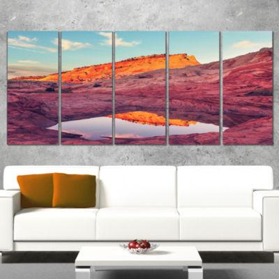 Designart Beautiful Seashore and Palm Trees Seashore Canvas Art Print - 4 Panels