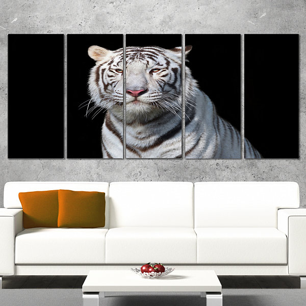 Stunning White Bengal Tiger Abstract Wrapped Art Print - 5 Panels