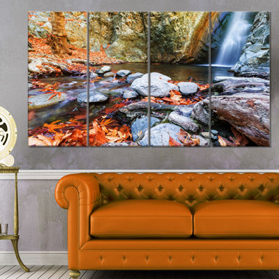 Designart Beautiful Serenity Waterfall in CyprusLandscape Wall Art On Canvas - 4 Panels