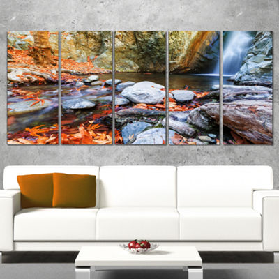 Designart Beautiful Serenity Waterfall in CyprusLandscape Wall Art On Wrapped Canvas - 5 Panels