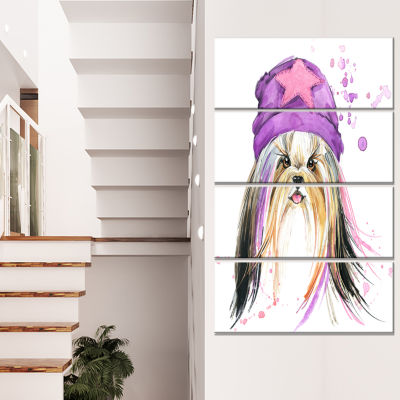 Stylish Puppy with Purple Hat Animal Canvas Wall Art - 4 Panels