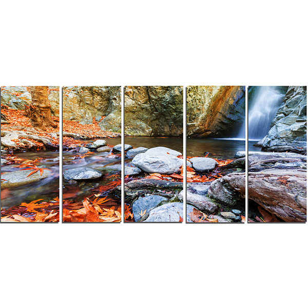 Designart Beautiful Serenity Waterfall in CyprusLandscape Wall Art On Canvas - 5 Panels