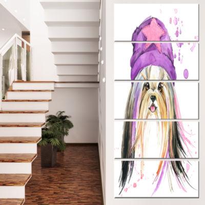 Designart Stylish Puppy with Purple Hat Animal Canvas Wall Art - 5 Panels