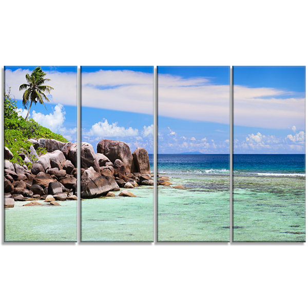 Designart Beautiful Seychelles Rocky Coast Landscape Canvas Art Print - 4 Panels