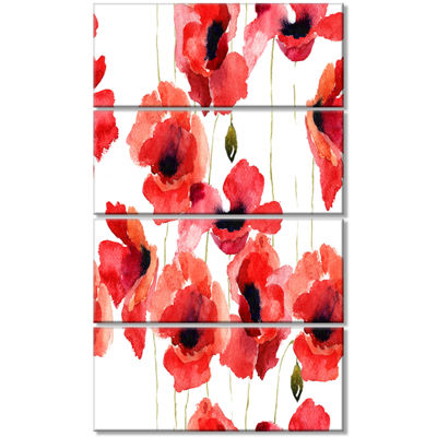 Designart Stylized Poppy Flowers Illustration Floral CanvasArt Print - 4 Panels