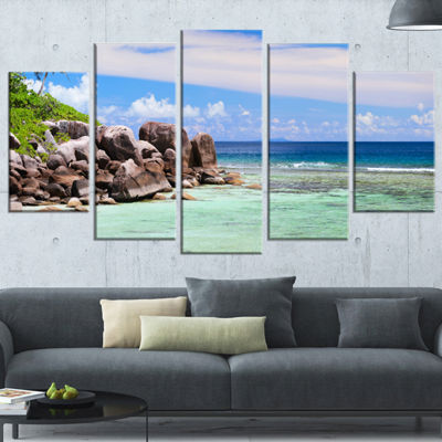 Designart Beautiful Seychelles Rocky Coast Landscape Wrapped Canvas Art Print - 5 Panels