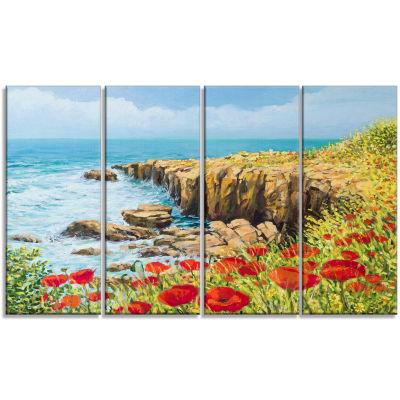 Designart Summer Breeze Landscape Art Print Canvas- 4 Panels